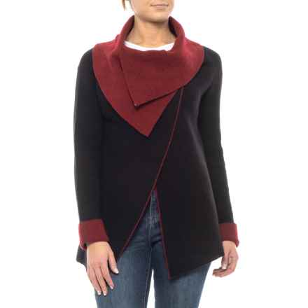 Chiaramente Made in Italy Double Wrap Knit Cardigan Sweater - Wool (For Women) in Black/Red - Closeouts