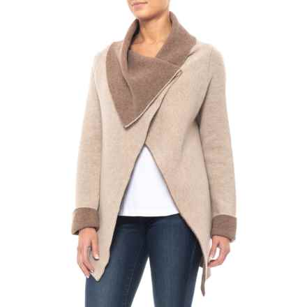 Chiaramente Made in Italy Double Wrap Knit Cardigan Sweater - Wool (For Women) in Taupe/Brown - Closeouts