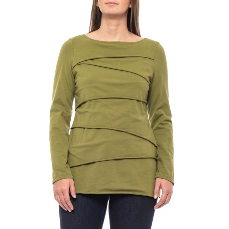 Image of Chic Green Beijing Layered Shirt - Long Sleeve (For Women)
