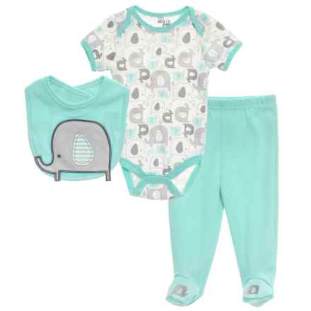Chick Pea Baby Bodysuit, Pants and Bib Set - Short Sleeve (For Infants) in Mint - Closeouts