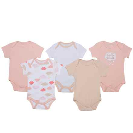 Chick Pea Grow with Me Bodysuits - 5-Pack (For Infants) in Pink - Closeouts