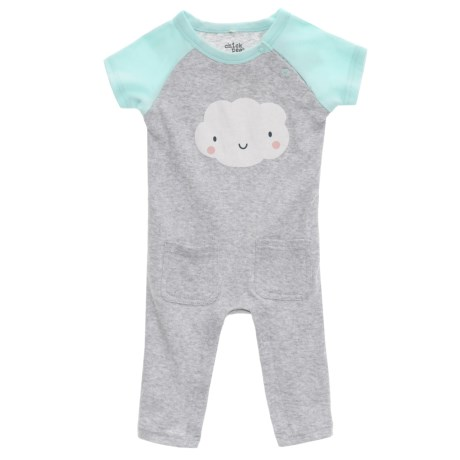 Chick Pea Raglan Coveralls - Short Sleeve (For Infants) in Grey