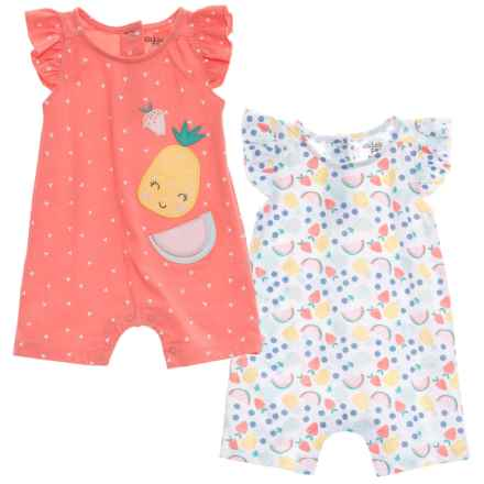 Chick Pea Romper Suits - 2-Pack, Sleeveless (For Infant Girls) in Coral - Closeouts