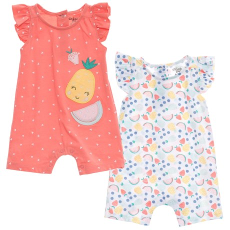 Chick Pea Romper Suits - 2-Pack, Sleeveless (For Infant Girls) in Coral