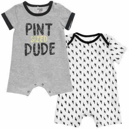Chick Pea Two-Pack Romper Suits - Short Sleeve (For Infant Boys) in Grey - Closeouts