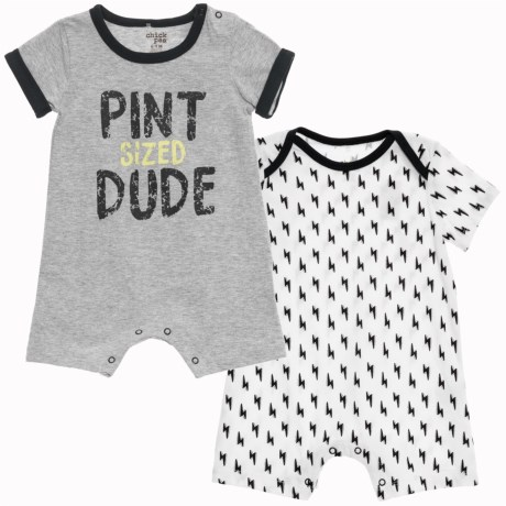 Chick Pea Two-Pack Romper Suits - Short Sleeve (For Infant Boys) in Grey