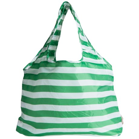 Chicobag Vita Geometric Reuseable Shoppers Tote Bag in Lime Stripe