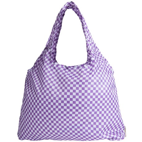Chicobag Vita Geometric Reuseable Shoppers Tote Bag in Purple Checkers
