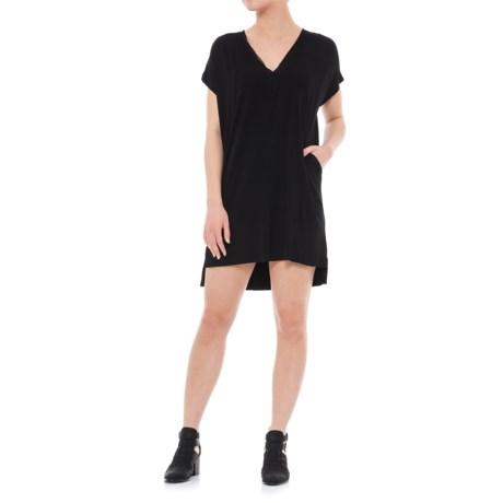 Chiffon Combo Dress - V-Neck, Sleeveless (For Women)