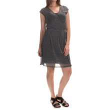 Chiffon Layered Dress - Fully Lined, Short Sleeve (For Women) in Black Print - 2nds