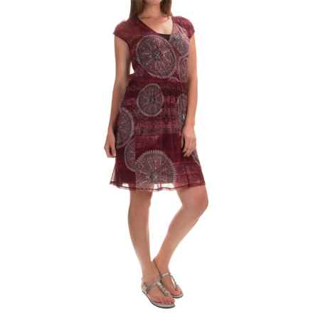 Chiffon Layered Dress - Fully Lined, Short Sleeve (For Women) in Red Print - 2nds