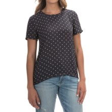 Chiffon Leaf-Print Shirt - Short Sleeve (For Women) in Navy/White - 2nds