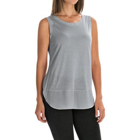 Chiffon Trim Tank Top (For Women) in Grey