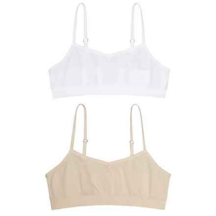 Chili Peppers Seamless Bralette - 2-Pack (For Big Girls) in Nude/White - Closeouts