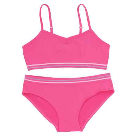 Chili Peppers Seamless Bralette and Panties Set (For Big Girls) in Pink - Closeouts