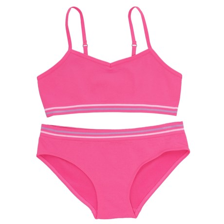 Chili Peppers Seamless Bralette and Panties Set (For Big Girls) in Pink