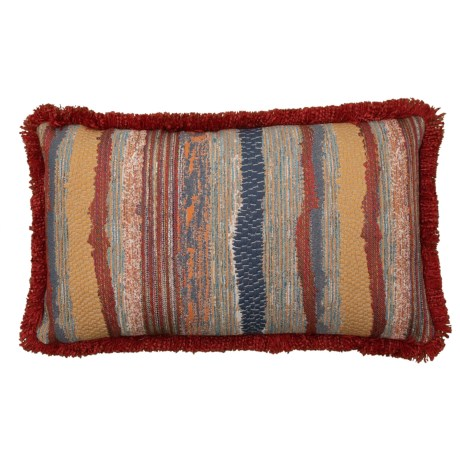 Image of Chindi Riviera Throw Pillow with Fringe Trim - 14x22? Feathers