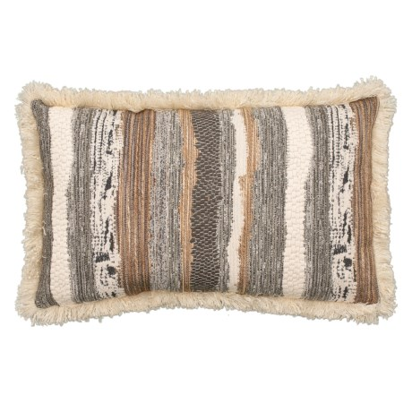 Image of Chindi Smoke Throw Pillow with Fringe Trim - 14x22? Feathers
