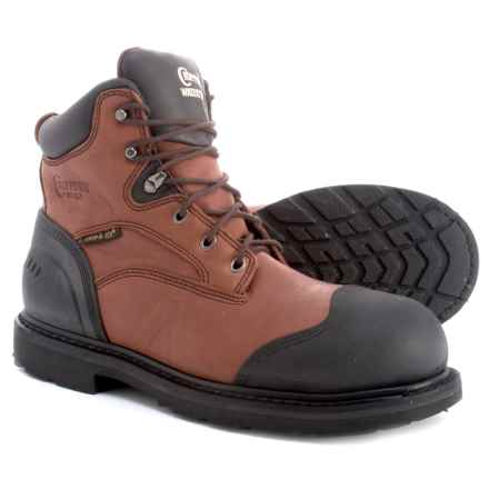 """Chippewa 6"""" Lace- Up Leather Work Boots - Composite Safety Toe, Waterproof (For Men) in Brown - Closeouts"""