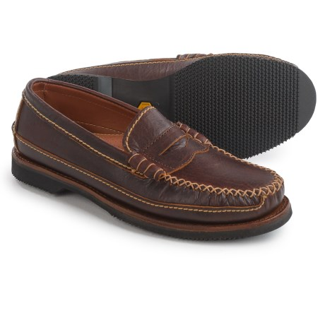 Chippewa American Bison Leather Penny Loafers - Leather, Slip-Ons (For Men) in Brown