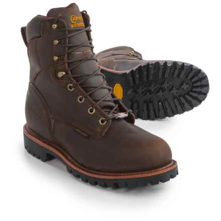 "Chippewa Bay Crazy Horse Leather Work Boots - Steel Safety Toe, Waterproof, Insulated, 8"" (For Men) in Bay Crazy Horse - 2nds"