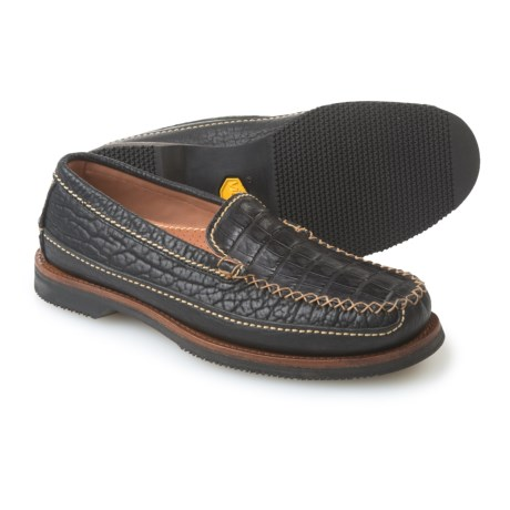 Chippewa Black Caiman Loafers - Leather (For Men) in Midnight
