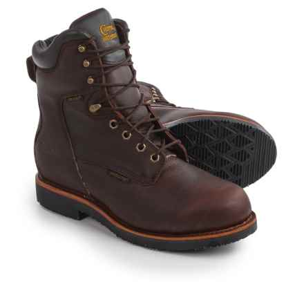 """Chippewa Rich Oiled Leather Work Boots - Waterproof, Insulated, 8"""" (For Men) in Walnut - 2nds"""