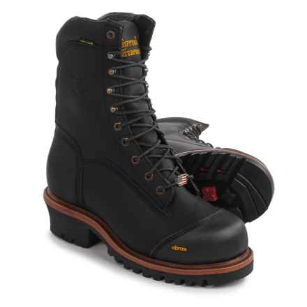"""Chippewa Super Logger 9"""" Comp Toe Leather Work Boots - Waterproof, Insulated (For Men) in Black - 2nds"""