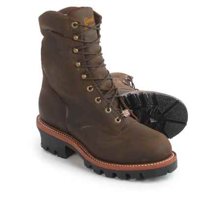 """Chippewa Super Logger 9"""" Leather Work Boots - Steel Safety Toe, Waterproof, Insulated (For Men) in Brown - 2nds"""