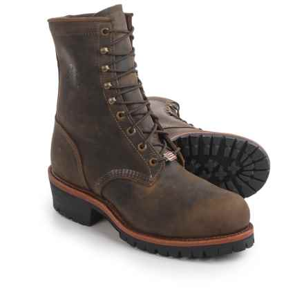 """Chippewa Tywin Logger Leather Work Boots - Steel Safety Toe, 9"""" (For Men) in Chocolate - 2nds"""