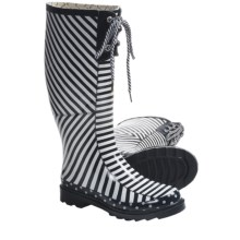 Chooka Canvas Stripes Rain Boots - Waterproof Rubber (For Women) in Navy/White - Closeouts
