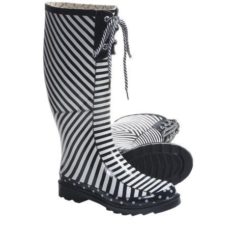 Chooka Canvas Stripes Rain Boots - Waterproof Rubber (For Women) in Navy/White