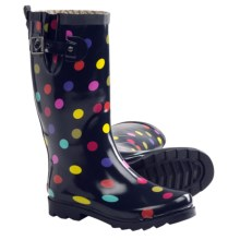 Chooka Dapper Dot Rain Boots - Waterproof Rubber (For Women) in Navy - Closeouts