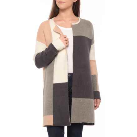 Christian Siriano Patchwork Cardigan Sweater - Open Front (For Women) in Neutral Combo - Closeouts
