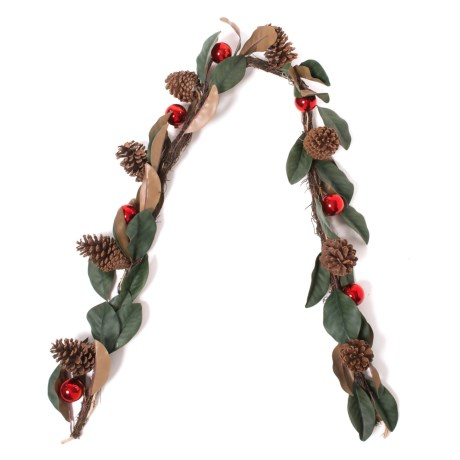 Image of Christmas Leaves and Pinecones Ornamental Garland - 72?