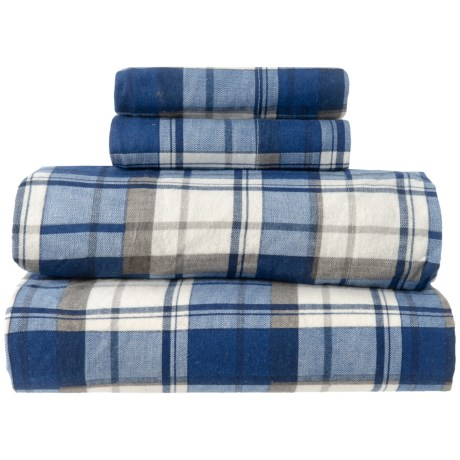 Image of Christmas Plaid Flannel Sheet Set - King