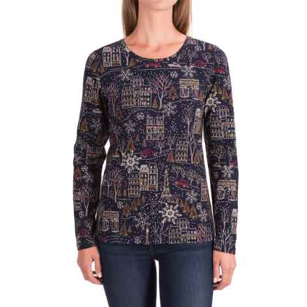Christmas-Print Shirt - Long Sleeve (For Women) in Navy/Cream - 2nds