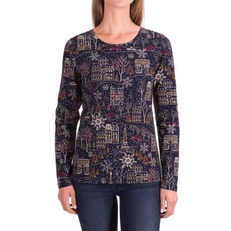 Christmas-Print Shirt - Long Sleeve (For Women)