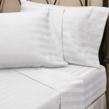 Christy Damask Stripe Sheet Set - Queen, 300 TC Cotton Sateen in White - Closeouts