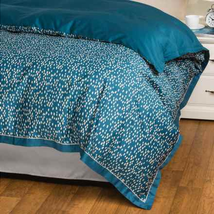 Christy Evelyn Cotton Sateen Duvet Cover - King, 300 TC in Petrol - Closeouts