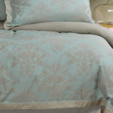 Christy Floral Damask Duvet Cover - Queen, 200 TC in Oyster - Closeouts