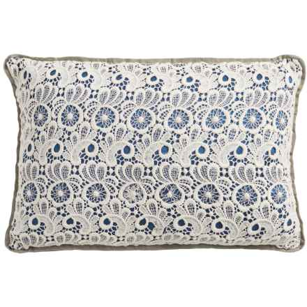 "Christy Lace Throw Pillow - 12x18"" in Petrol - Closeouts"
