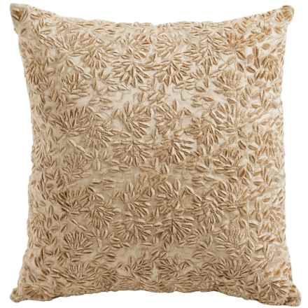 Christy Naomi Embroidered Square Throw Pillow in Soft Gold - Closeouts