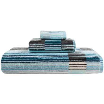 Christy Supreme Capsule Stripe Aqua Bath Towel in Aqua - Closeouts