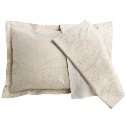 Christy Textured Paisley Cotton Jacquard Pillow Shams - King, 200 TC, Pair in Neutral - Closeouts