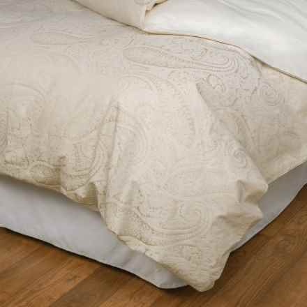 Christy Textured Paisley Jacquard Duvet Cover - Queen in Neutral - Closeouts