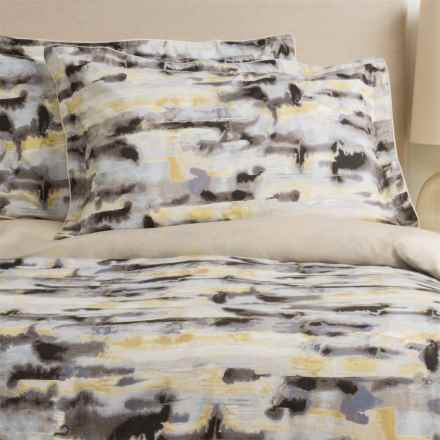Christy Watercolour Cotton Sateen Pillow Shams - King, 300 TC, Pair in Zinc Grey - Closeouts