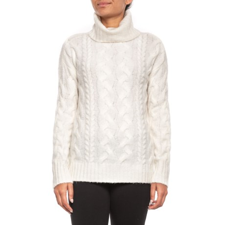 Image of Chunky Cable Turtleneck Sweater (For Women)