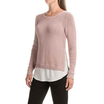 Chunky Two-in-One Sweater (For Women) in Rose/Ivory - Closeouts