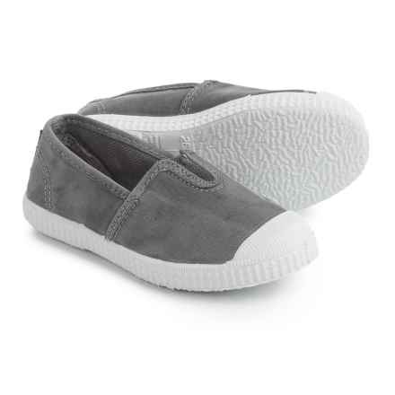 Cienta Made in Spain Canvas Sneakers - Slip-Ons (For Toddlers and Little Girls) in Grey - Closeouts